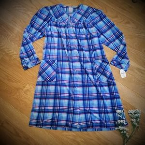NEW Soft Plaid Print Nightgown/House  Lounge Dress